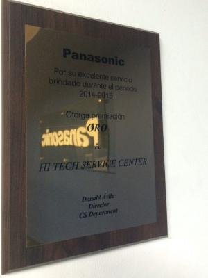 Reconocimiento en la categoría Oro al centro de servicio Panasonic Cali